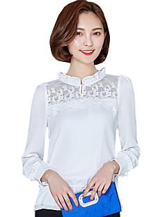 Blusa Da donna Per uscire / Casual Moda città Primavera / Autunno,Tinta unita / Collage Colletto alla coreana Poliestere BiancoManica