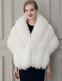 Women's Wrap Capelets Sleeveless Faux Fur Black / White Wedding / Party/Evening V-neck 50cm Feathers / fur Hidden Clasp