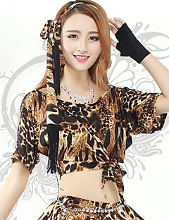 Belly Dance Bottoms Women's Training Spandex Leopard 1 Piece Leopard Belly Dance Short Sleeve Natural Skirt