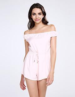 Polyester / Nylon-Micro-elastisch-Ondoorzichtig-Vrouwen-Sexy / Vintage-Jumpsuits-Korte mouw