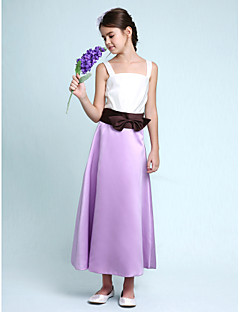 Lanting Bride® Ankle-length Satin Junior Bridesmaid Dress A-line / Princess Straps Natural with Bow(s) / Sash / Ribbon