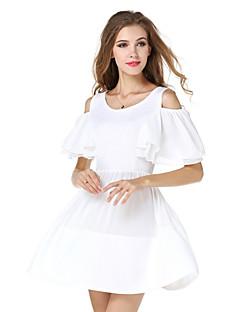 קיץ פוליאסטר / ספנדקס לבן אורך חצי שרוול מעל הברך צווארון עגול אחיד סגנון רחוב יום יומי\קז'ואל שמלה משוחרר / סווינג נשים