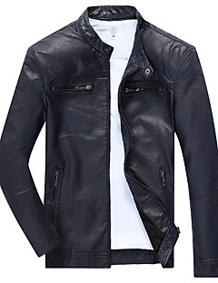 Men's Casual/Daily Vintage / Simple / Punk & Gothic Leather Jackets,Solid Long Sleeve Fall / Winter Blue / Red / Black / YellowPU /