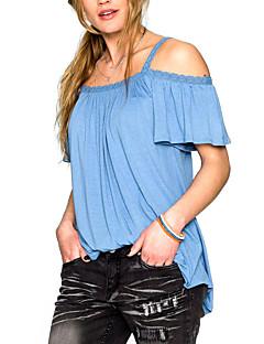 Rayon Blå / Hvit Tynn Kortermet,Med stropper T-skjorte Ensfarget Sommer Vintage Fritid/hverdag Kvinner