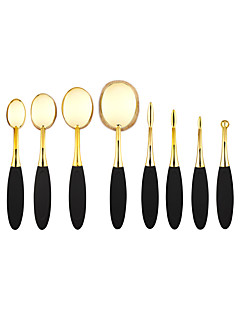 10Pcs Gold Oval Mastery Toothbrush Makeup Brush Set Professional Makeup Brushes Oval Makeup Brush