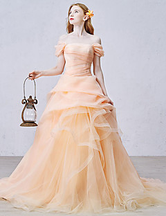 ボールガウン プリンセス チャペルトレーン オーガンザ チュール フォーマルイブニング ドレス とともに ラッフル サイドドレープ 〜によって shangshangxi