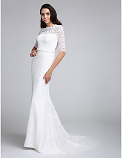 Trumpet / Mermaid Wedding Dress Court Train Jewel Lace with Lace