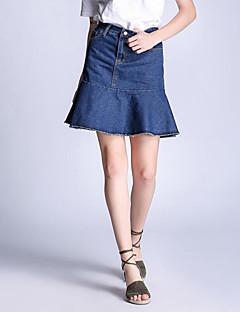 Katoen-Micro-elastisch-Street chic-Boven de knie-Vrouwen-Rokken