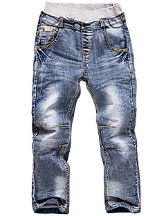 Boy's Cotton Spring/Autumn Fashion Solid Color Patchwork Jeans Elasticity Denim Pants