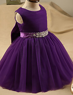 A-Line Short / Mini Flower Girl Dress - Tulle Sleeveless Jewel Neck with Crystal Detailing by XMF