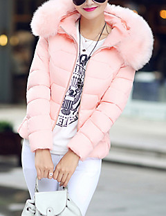 Women's Long Padded Coat,Simple Casual/Daily Solid-Polyester Polypropylene Long Sleeve Hooded Blue Pink White Black Gray