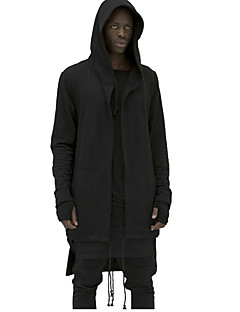 Men's Personality Assassin Long Hooded Sweatshirt,Cotton / Polyester Long Sleeve Black / White