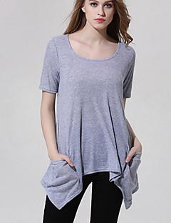 Kortærmet U-hals Solid Kvinders Grå Ensfarvet Sommer Simpel Casual/hverdag T-shirt,Polyester