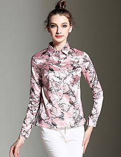 Langærmet Krave Medium Kvinders Rosa Trykt mønster Alle årstider Vintage I-byen-tøj Skjorte,Polyester