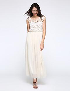 Women's Round Neck Lace/Pleated Dress, Chiffon/Mesh Maxi Sleeveless