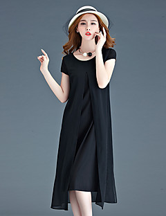 Women's Going out / Plus Size Sexy Swing Dress,Solid Round Neck Midi Short Sleeve Black Nylon Summer Mid Rise Micro-elastic