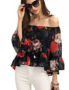 Women's Off The Shoulder Going out Sexy / Street chic All Seasons Blouse,Floral Boat Neck Long Sleeve Black Polyester Thin