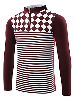 Men's Long Sleeve PoloCotton / Spandex Casual / Work / Formal / Sport / Plus Size Striped / Plaid / Solid /