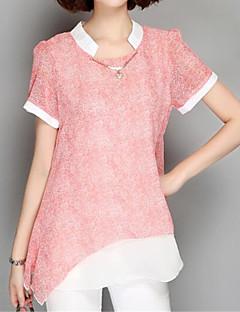 Tee-shirt Aux femmes Mosaïque Manches Courtes Col Arrondi Polyester