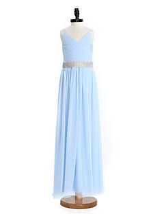 2017 Lanting gaine robe-parole longueur bride® mousseline demoiselle d'honneur junior / colonne bretelles spaghetti avec cristal détaillant