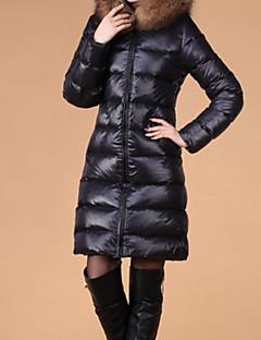 Women's Solid Black Parka Coat , Casual / Work / Plus Sizes Fur Hooded Long Sleeve Down Coat