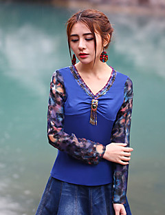 Mulheres Camiseta Happy-Hour Vintage Primavera / Outono,Color Block / Bordado Azul Poliéster Decote Princesa Manga Longa Fina