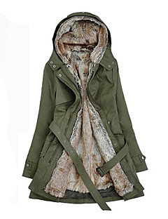 Women's Regular Parka Coat Plus Size Patchwork-Cotton / Others Long Sleeve Hooded Beige / Black / Green
