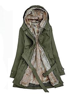 Пальто Простое Обычная Парка Для женщин,Однотонный На каждый день Хлопок Другое Длинный рукав Капюшон