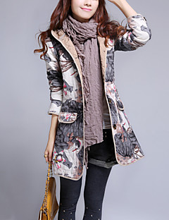 Women's Casual/Daily Vintage Slim CoatPrint Hooded Long Sleeve Fall / Winter Blue / White / Gray Cotton / Linen Thick