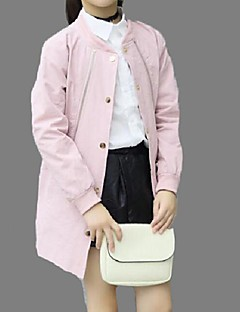 Girl's Casual/Daily Solid Trench CoatCotton Spring / Fall Blue / Pink