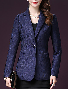 Women's Plus Size / Going out / Formal Sexy / Street chic /  Spring / Fall  Notch Lapel Long Sleeve Blue / Red