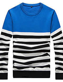 Men's Striped Casual / Work / Formal / Sport / Plus Size Pullover,Polyester Long Sleeve Blue / Red / Yellow