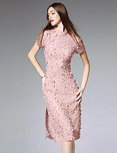 burdully Frauen chinoiserie Spitze Ausgehen dressembroidered midi kurze Ärmel Taille unelastisch Medium stehen