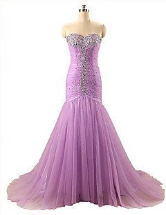 Formal Evening Dress - Sparkle & Shine Trumpet / Mermaid Sweetheart Court Train Organza with Beading Pleats