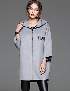 Damen Buchstabe Einfach Lässig/Alltäglich Mantel,Frühling / Herbst Mit Kapuze ¾-Arm Grau Undurchsichtig Wolle