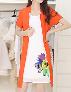 Women's Simple Floral Plus Size / Chiffon Dress,Peaked Lapel Knee-length Polyester