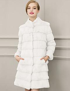 婦人向け カジュアル/普段着 / プラスサイズ 冬 ソリッド ファーコート,ストリートファッション スタンド ホワイト / ブラック フェイクファー 七部袖 厚手