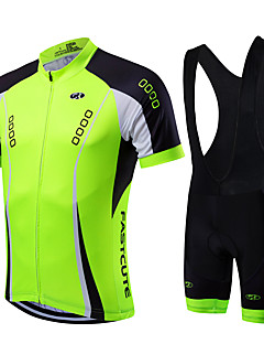 fastcute Cycling Jersey with Bib Shorts Men's Unisex Short Sleeve Bike Clothing SuitsQuick Dry Front Zipper Wearable Breathable