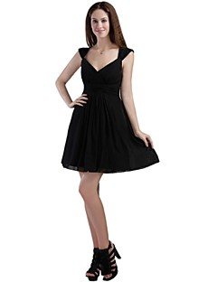Cocktail Party Dress - Little Black Dress A-line Off-the-shoulder Short / Mini Chiffon with Pleats
