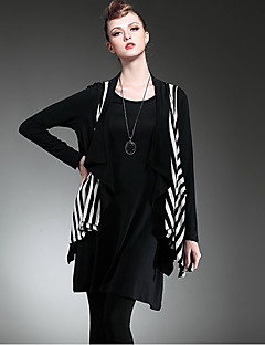 LUTING® Mujer Escote Redondo Sin Mangas Chaleco y chaleco Negro / Gris-6030