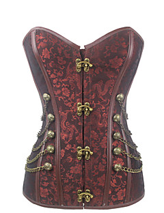 Shaperdiva Women's Retro Steampunk Corset Top Steel Boned Gothic Waist Training Bustier Body Shaper