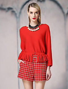 I'HAPPY Women's Casual/Daily Street chic Regular PulloverSolid Red / Black Round Neck Long Sleeve Rayon / Nylon Spring