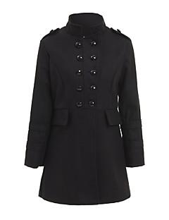 Damen Solide Übergröße Mantel,Winter Ständer Langarm Schwarz / Grau Mittel Baumwolle / Polyester / Nylon