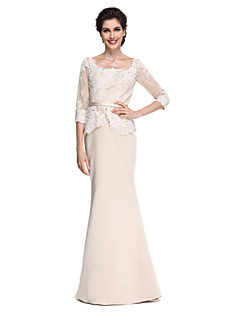 Lanting Bride®Trumpet / Mermaid Mother of the Bride Dress - Elegant / See Through Floor-length Half Sleeve Lace / Satin with Lace