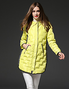 frmz kvinders solid gul ned coatsimple hætteklædte langærmet