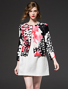 FRMZ  Going out Chinoiserie Spring / Fall JacketsFloral Round Neck Long Sleeve Pink Polyester Medium