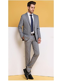 Suits Notch Single Breasted Two-buttons Wool Checkered / Gingham 2 Pieces Light Gray Straight Flapped Light Gray Pockets