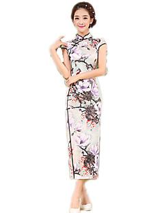 Egyrészes/Ruhák Cosplay Lolita ruhák Tintakék Virágos Rövid ujjú Hosszú hossz Mert Poliészter