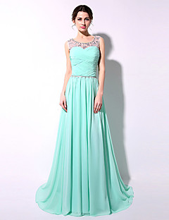 Floor-length Chiffon Bridesmaid Dress - Sexy Sheath / Column Scoop with Crystal Detailing / Side Draping