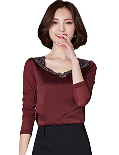 Spring Fall Women's Go out Fashion Wild Solid Color V Neck Long Sleeve Blouse